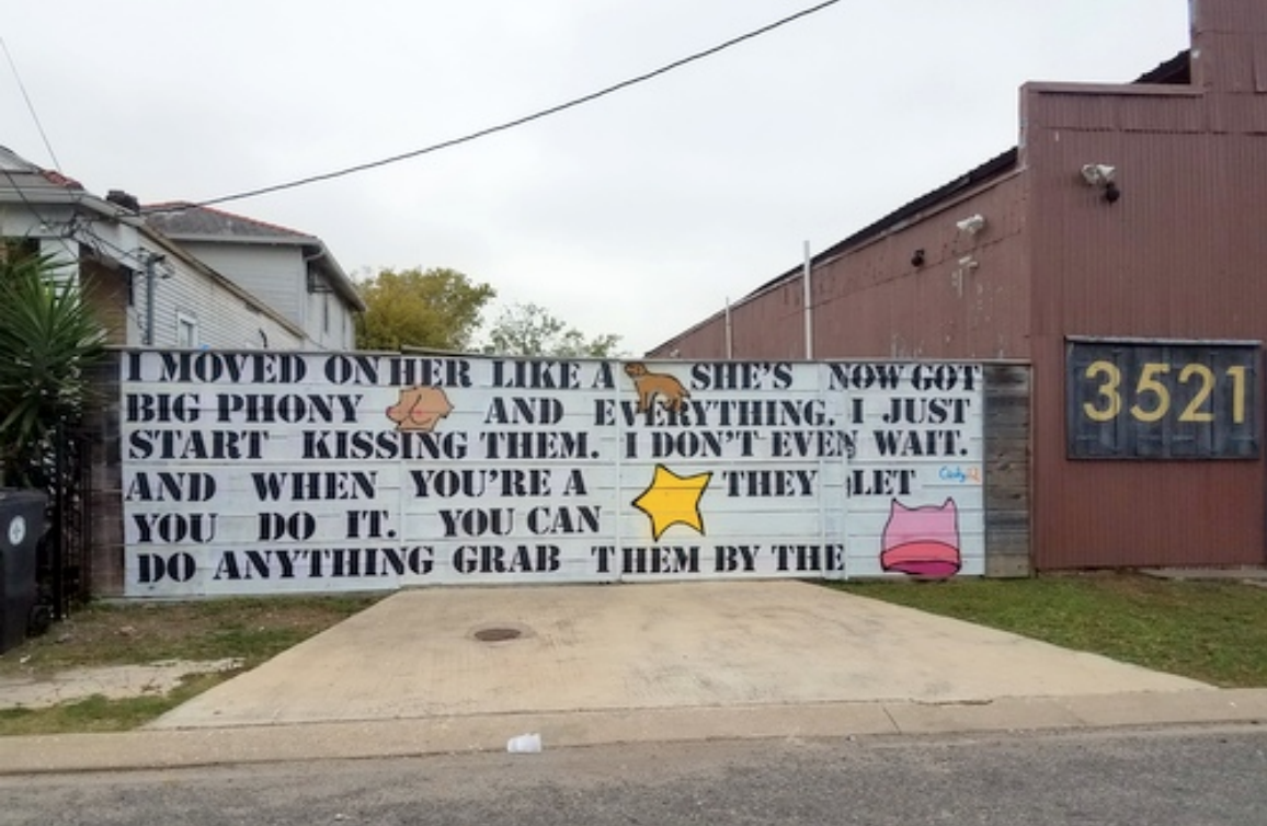 Artist mural of Trump's comments about women