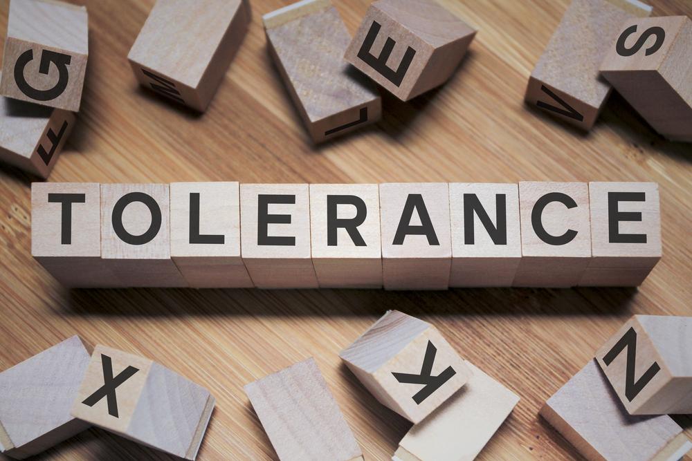 "Wooden blocks spelling ""tolerance"""