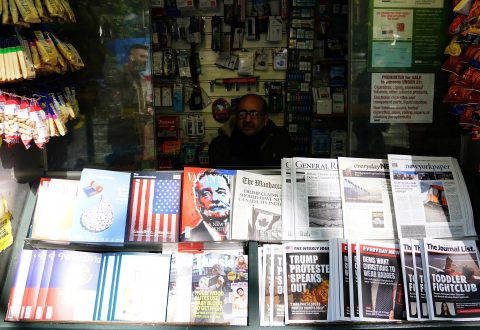 """A news stand outfitted with """"Fake News"""" headlines for a stunt pulled off by the Columbia Journalism Review is pictured in the Manhattan borough of New York, New York, U.S., October 30, 2018. REUTERS/Carlo Allegri"""
