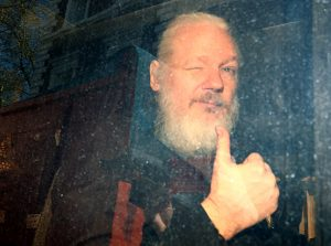 Photo of Assange after his arrest in London