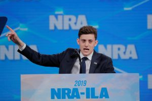 Kyle Kashuv addresses the 148th National Rifle Association (NRA) annual meeting in Indianapolis, Indiana, U.S., April 26, 2019. REUTERS/Lucas Jackson